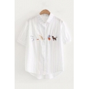 Lovely Cat Embroidered Striped Printed Lapel Collar Short Sleeve Buttons Down Shirt