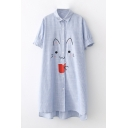 Cat Drink Embroidered Lapel Collar Short Sleeve Striped Printed Buttons Down Midi Shirt Dress