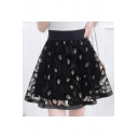 Peacock Feather Embroidered Mesh Insert High Waist Mini A-Line Skirt