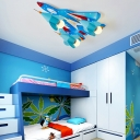 Boys Bedroom Aircraft LED Flush Mount Contemporary Metal 3 Lights Flush Light in White