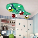 Green Leaf Flushmount with Ladybug Metal 8 Lights Eye Protection LED Flush Ceiling Light for Kids