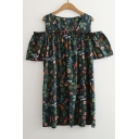 Floral Letter Printed Round Neck Cold Shoulder Short Sleeve Mini A-Line Dress