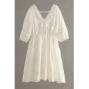 V Neck Short Sleeve Hollow Out Detail Plain Mini A-Line Dress