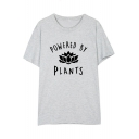 POWERED BY PLANTS Letter Floral Printed Round Neck Short Sleeve Tee