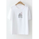 Frog Butterfly Embroidered Round Neck Short Sleeve Tee