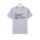 IF YOU CAN'T CONVINCE Letter Printed Round Neck Short Sleeve Tee