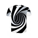3D Black And White Vertigo Hypnotic Printed Round Neck Short Sleeve Tee