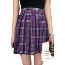 Chic Plaid Printed Mini A-Line Pleated Skirt