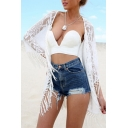 Sheer Mesh Collarless Long Sleeve Open Front Cover Up with Tassel