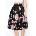 Elegant Floral Printed Midi A-Line Skirt
