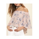 Chic Off The Shoulder Floral Printed 3/4 Length Sleeve Blouse