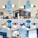 3/6 Light Airplane Semi Flushmount Boys Bedroom Glass Shade LED Lighting Fixture in Blue
