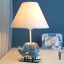 Coolie Shade Standing Table Light with Airplane Base Boys Bedroom Fabric 1 Bulb Table Lamp in White