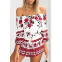 Chic Color Block Floral Printed Off The Shoulder 3/4 Length Sleeve Romper