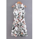 Notched Lapel Collar Sleeveless Floral Printed Tied Waist Midi A-Line Dress