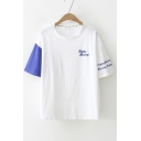 HAPPY Letter Embroidered Color Block Short Sleeve Round Neck Tee
