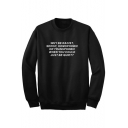 WHY BE RACIST Letter Printed Round Neck Long Sleeve Sweatshirt
