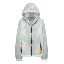Colorful Zipper Long Sleeve Hooded Sun Proof Coat