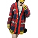 Color Block Geometric Printed Buttons Down Long Sleeve Tunic Cardigans