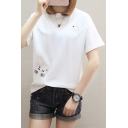 Cat Fish Bone Embroidered Round Neck Short Sleeve Tee