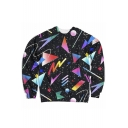 Colorful Geometric Printed Round Neck Long Sleeve Sweatshirt