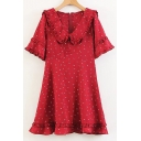 Chic Moon Star Heart Printed Doll Collar Short Sleeve Buttons Embellished Mini A-Line Dress