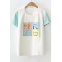 Color Block Short Sleeve Cat Embroidered Round Neck Leisure Tee