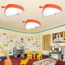 Orange Fish Shape Ceiling Light Acrylic Decorative LED Flush Mount Light for Children Kids Room