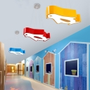 Adorable Penguin Pendant Lamp Cartoon Nursing Room Acrylic LED Hanging Light in Blue/Yellow/Red