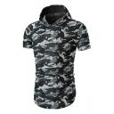 Camouflage Printed Short Sleeve Slim Hooded Tee