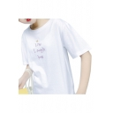 LIVE LAUGH LOVE Letter Heart Embroidered Round Neck Short Sleeve Tee
