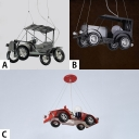 2/3 Lights Car Shape Pendant Light Vintage Retro Style Boys Bedroom Metal Art Deco Suspended Lamp