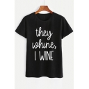 THEY Letter Printed Round Neck Short Sleeve Tee