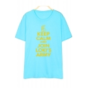 KEEP CALM Letter Printed Round Neck Short Sleeve Graphic Tee