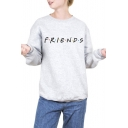 Round Neck Long Sleeve FRIENDS Letter Printed Sweatshirt
