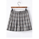 Plaid Printed Zipper Fly Mini A-Line Pleated Skirt