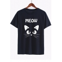 Cat MEOW Letter Printed Round Neck Short Sleeve Tee
