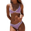 Contrast Trim Spaghetti Straps Sleeveless Bikini