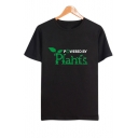 POWERED BY PLANTS Letter Leaf Printed Round Neck Short Sleeve Tee