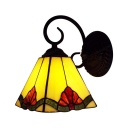 One Light 6 Inch Width Tiffany Crafted Wall Sconce with Red Flower Pyramid Shade
