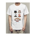 Cartoon Sushi Letter Printed Round Neck Short Sleeve Tee