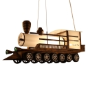 Train Shape Suspended Light Amusement Park Metallic LED Lighting Fixture in Antique Bronze Finish