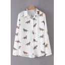 Cats Printed Lapel Collar Long Sleeve Buttons Down Shirt