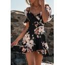 Off The Shoulder Short Sleeve V Neck Floral Printed Ruffle Detail Mini A-Line Dress