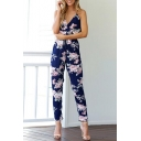 Spaghetti Straps Sleeveless Hollow Out Back Floral Printed Jumpsuit