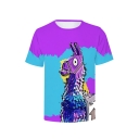 Color Block Donkey Printed Round Neck Short Sleeve Tee