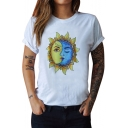 Floral Sun Moon Printed Round Neck Short Sleeve Tee