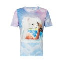 Alpaca Cloud Printed Round Neck Short Sleeve Tee