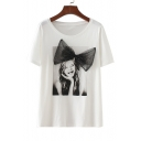 Bow Embellished Girl Printed Round Neck Short Sleeve Tee