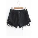 Rivets Embellished Hollow Out Detail Fringe Hem Hot Pants Denim Shorts